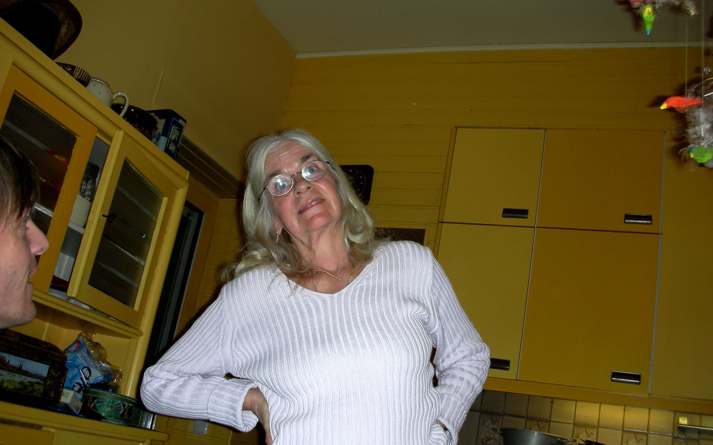 My mother about a year ago in her kitchen, still holding up rather well