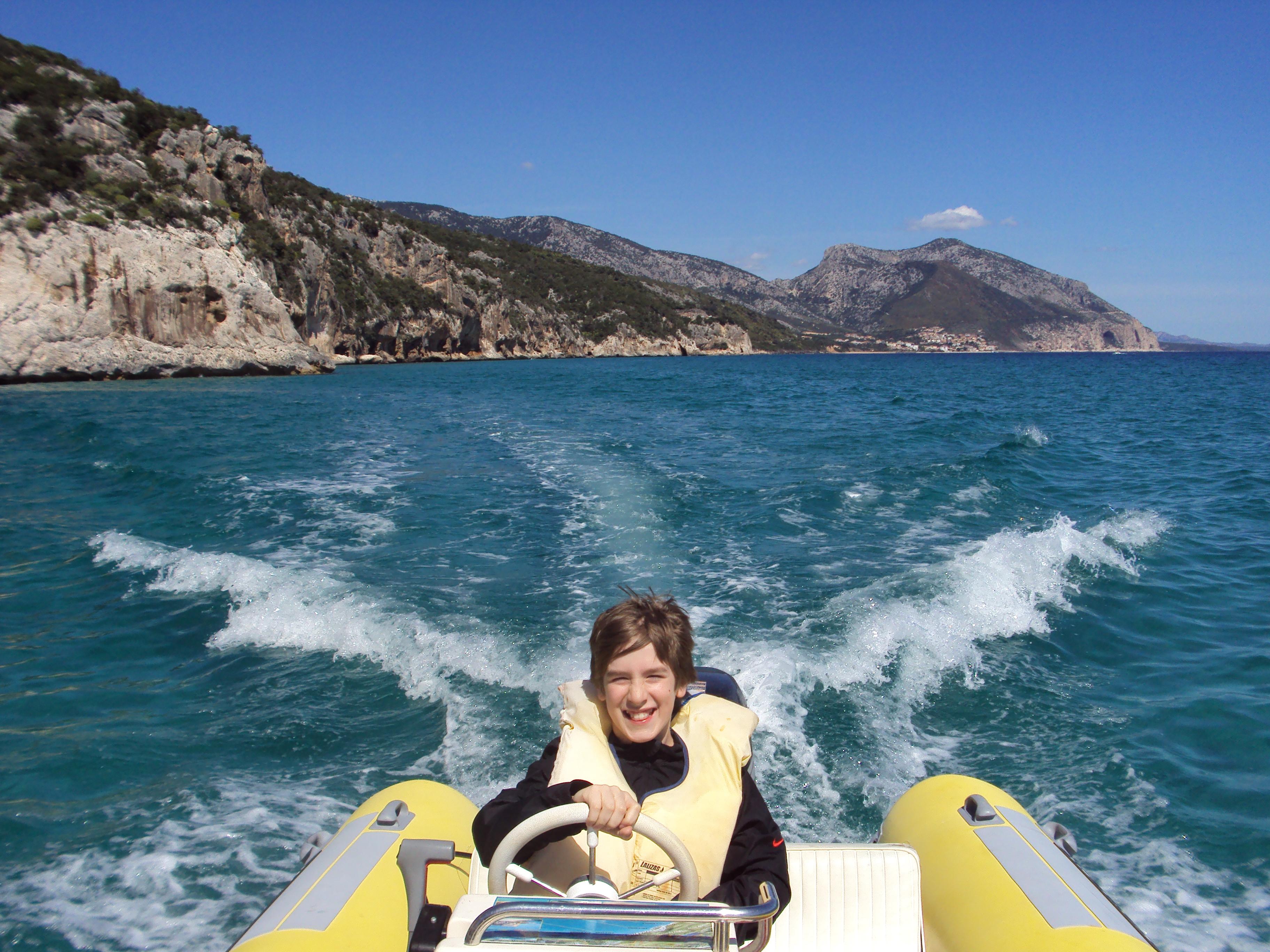 Motorboat in gulf of Orosei